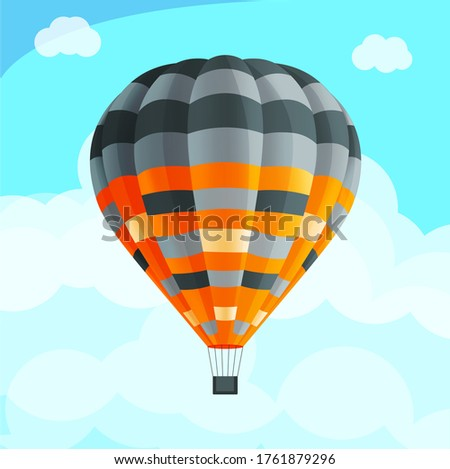 Colorful realistic air balloon among blue sky with clouds, fly aerial transport, hot air balloon Stock photo © robuart