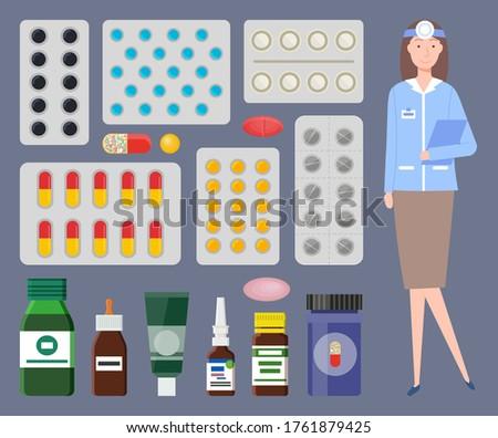 Tıbbi personel web simgeleri renkli plakalar hapları Stok fotoğraf © robuart