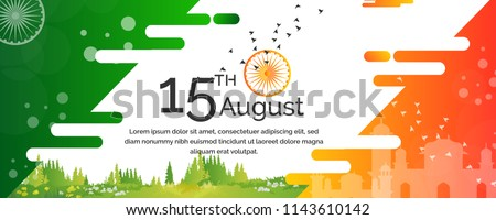 Abstract tricolor banner with Indian flag for 15th August Happy Independence Day of India Stock photo © vectomart