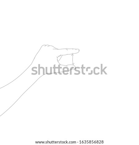 Human hand in a showing size gesture with arrow. Hand drawn linear sketch. Black silhouette on white Stock photo © kyryloff