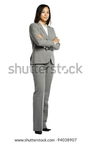 Closeup portrait of pretty young business woman against green bo stock photo © HASLOO