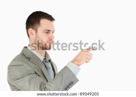Oldalnézet üzletember futurisztikus érintőképernyő fehér üzlet Stock fotó © wavebreak_media