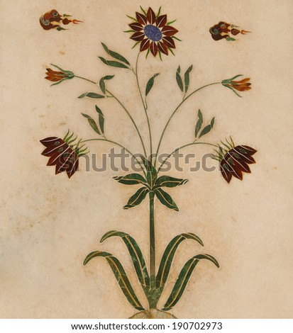 Detail, inlaid flowers on marble column, Hall of Private Audienc Stock photo © meinzahn