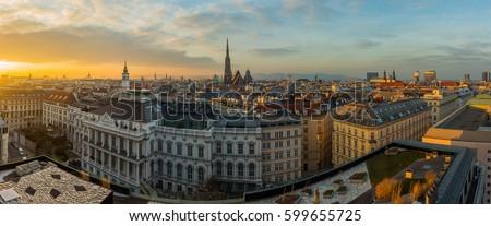 Viyana ufuk çizgisi iş kilise köprü kentsel Stok fotoğraf © compuinfoto