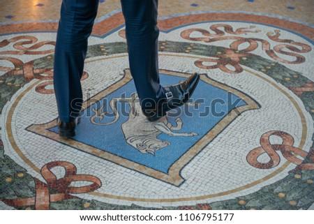 Mosaic Floor of Interior of Galleria Vittorio Emanuele II Shopin Stock photo © anshar