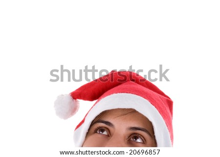 Mrs. Santa dreaming about Christmas presents isolated on white b Stock photo © Nejron