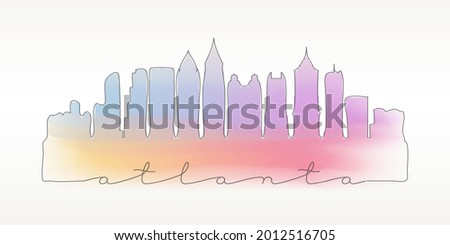 aquarela · arte · imprimir · linha · do · horizonte · atlanta · Geórgia - foto stock © chris2766