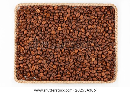 Quadro corda grãos de café branco lugar texto Foto stock © alekleks