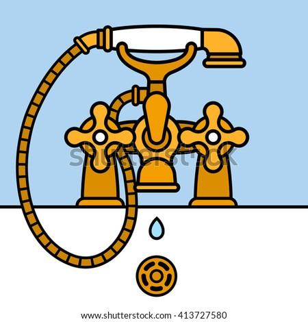 Brass bathtub faucet dripping Stock photo © adrian_n