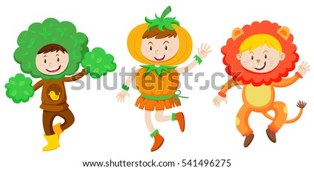 Three kids in fantacy outfit Stock photo © bluering