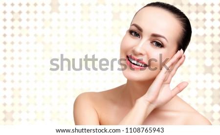 Feliz mulher sorrindo abstrato turva luz luzes Foto stock © Nobilior