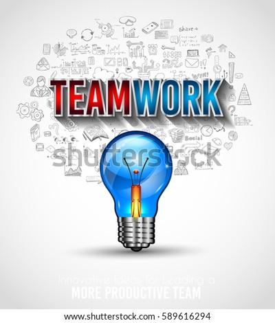 teamwork borchure template with hand drawn sketches and a lot of mockups design elements stock photo © davidarts