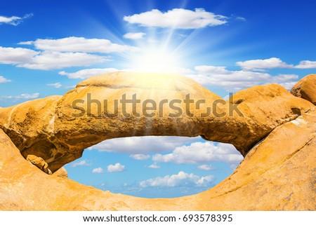 sziklaformáció · kék · ég · tájkép · kereszt · Namíbia · Afrika - stock fotó © meinzahn