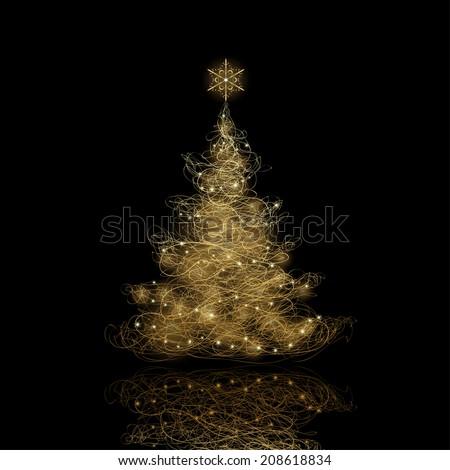 Shiny Christmas tree  in black poster Stock photo © fresh_5265954