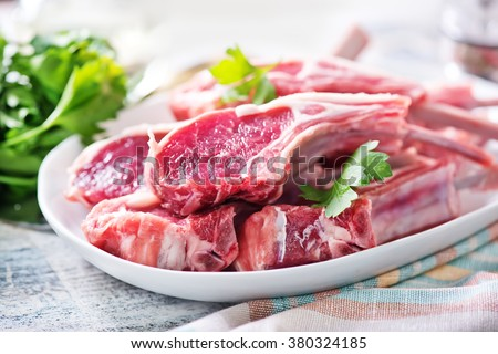 ingredients of fresh meat ready to cook on barbecue   backgrou stock photo © kayros