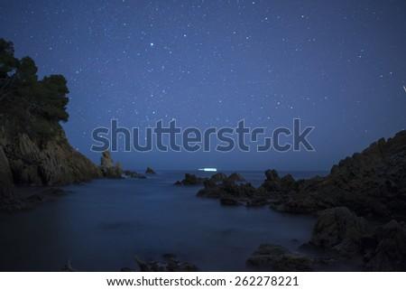 Night scene with rocks and stars in Costa Brava, Catalonia, Spai Stock photo © digoarpi