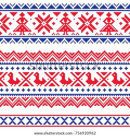 Sami seamless vector design, Lapland cross-stitch vector pattern, folk art Scandinavian, Nordic styl Stock photo © RedKoala