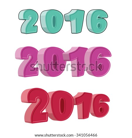 Set number 2016. Figures for the new year. Hilarious cartoon-sty Stock photo © popaukropa