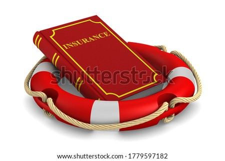 Red book and lifebuoy on white background. Isolated 3d illustrat Stock photo © ISerg