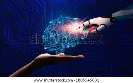 human and robot hands over space background Stock photo © dolgachov