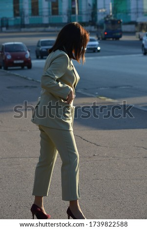 Portrait of attractive businesslike woman with long brown hair i Stock photo © deandrobot