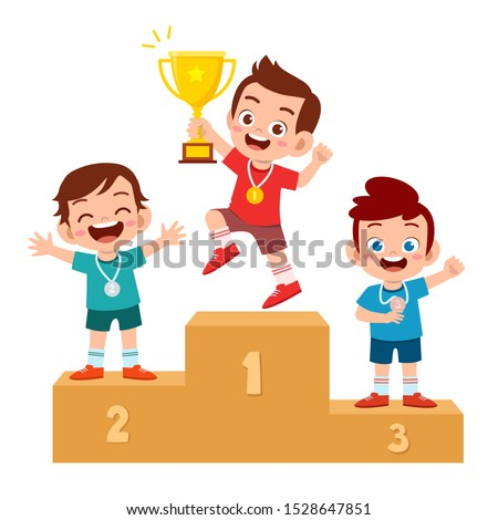 happy children on a sports pedestal with gold medal vector competition isolated illustration stock photo © pikepicture