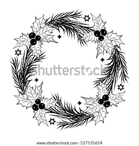 Christmas Sketch With Wreath Of Fir Twigs Decorated With Blue And White Baubles And Pine Cones. Samp Stock photo © Lady-Luck
