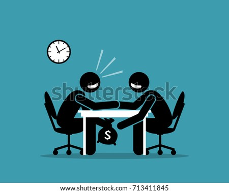 Businessman Passing A Bag With Money Under The Table To Another Businessman Vector. Isolated Illustr Stock photo © pikepicture