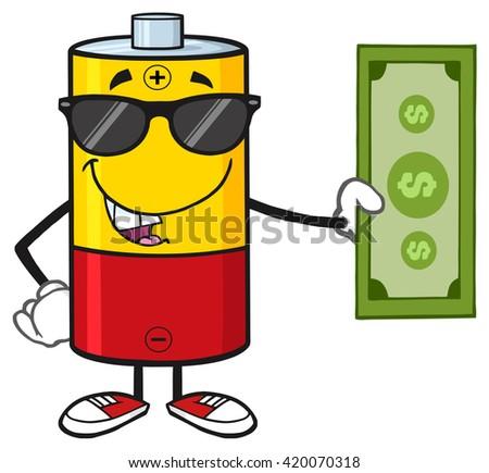 drôle · batterie · mascotte · dessinée · personnage · lunettes · de · soleil · pouce - photo stock © hittoon