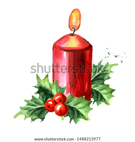 christmas sketch with burning candles in golden candle holder with festive decorations and baubles i stock photo © lady-luck