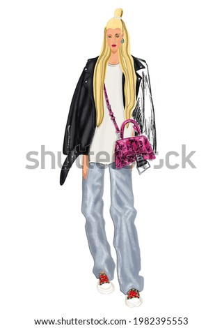 Girl with blondy hair in oversize jacket.  Stock photo © NeonShot