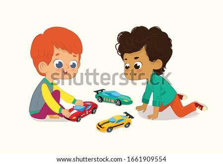 fiú · játszik · játék · autó · rajz · fiatal - stock fotó © bennerdesign