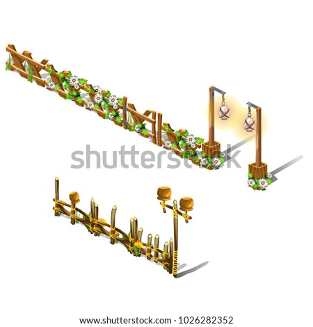 izometryczny · cartoon · ogrodzenia · bramy · odznaczony - zdjęcia stock © lady-luck