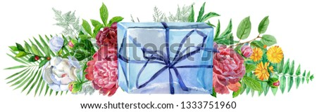 Watercolor llustration with blue gift box and peonies. For design, print or background Stock photo © Natalia_1947