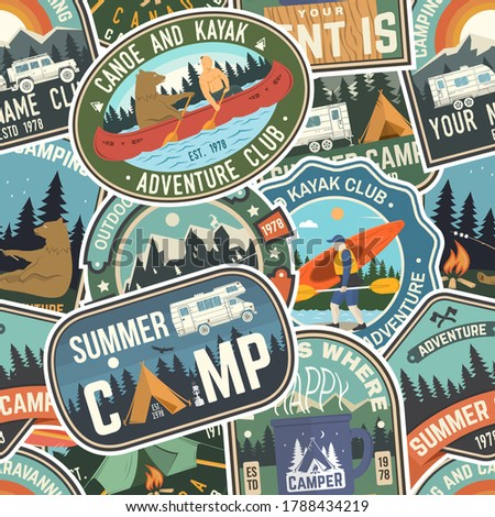 Camping Pattern Design - Adventure retro car and mountains symbols. Outdoors seamless background. Si Stock photo © JeksonGraphics
