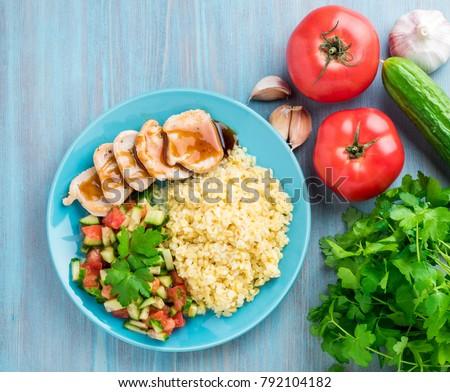 Stock fotó: Hús · zöldségek · fa · asztal · étel · vacsora · búza