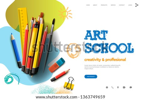 art class studio course school education banner or poster with black chalkboard background han stock photo © ikopylov