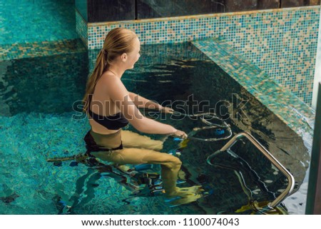 young woman on bicycle simulator underwater in the pool banner long format stock photo © galitskaya