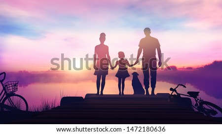 Family with a child standing on a wooden pier and admiring the sunset Stock photo © ConceptCafe