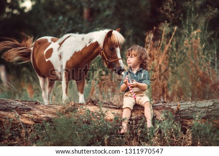 little baby boy with curly hair dressed as hobbit playing with horse in summer forest stock photo © elenabatkova