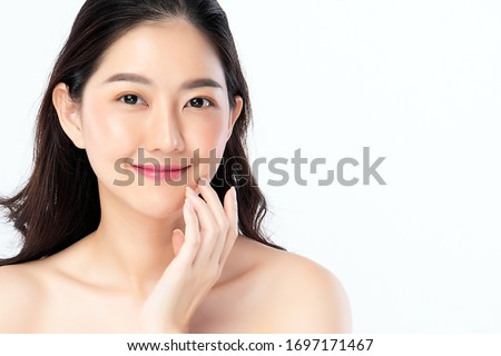 Beautiful young smiling woman with clean skin. Facial treatment. Cosmetology, beauty and spa. Beauty Stock photo © serdechny