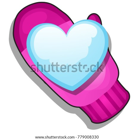 Pink winter knitted glove, snowball shaped in the form of heart isolated on white background. Sketch stock photo © Lady-Luck
