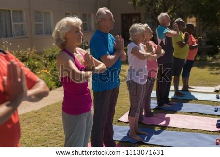Oldalnézet aktív idős emberek előad jóga Stock fotó © wavebreak_media
