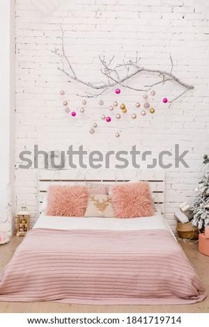 Kényelem otthon karácsony hálószoba fehér puha Stock fotó © vkstudio