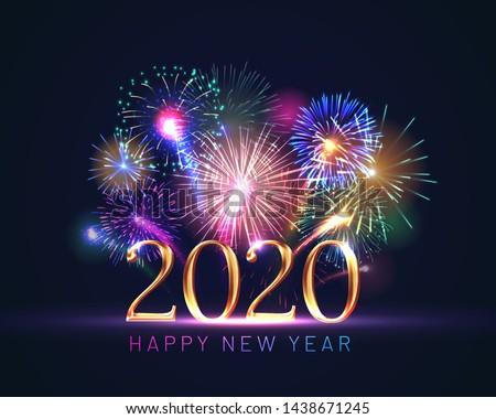 Happy new year illustration brillant nombre sombre vecteur Photo stock © articular
