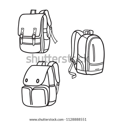 Sketch of a rucksack. Backpack isolated on white background. Vector illustration of a sketch style. Stock photo © Arkadivna