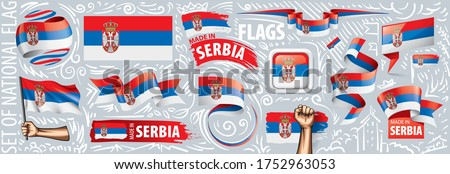 Vector set of the national flag of Serbia in various creative designs Stock photo © butenkow