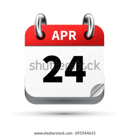 Bright realistic icon of calendar with 24 april date isolated on white Stock photo © evgeny89