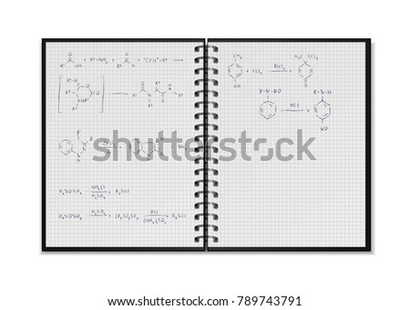 Black open realistic school notepad with chemical reaction equations and formulas on square grid she Stock photo © evgeny89