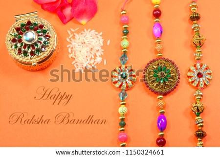 happy raksha bandan traditional decorative wishes card design Stock photo © SArts